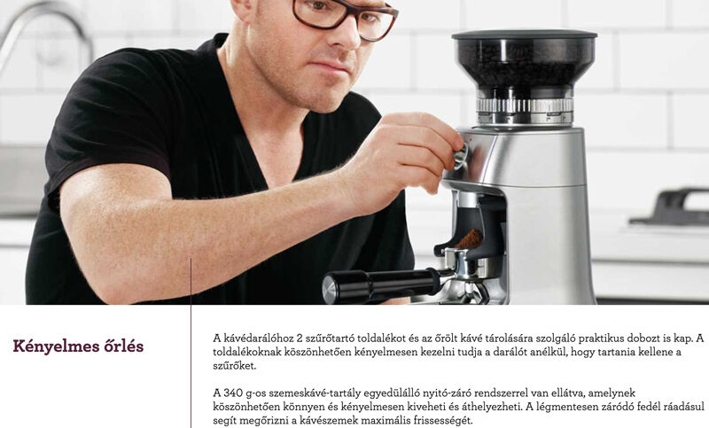 sage BCG600 dose controll kávédaráló side